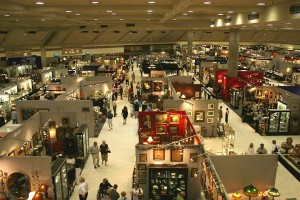 An overhead view of just a couple of aisles at the Baltimore Summer Antiques Show