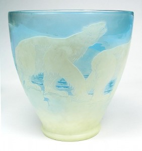 Gallé polar bear vase