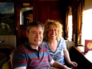 Philip and Lia in the dessert car