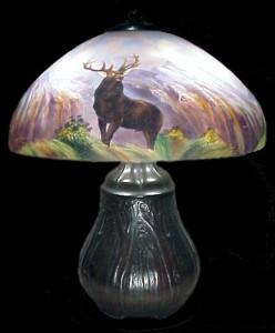 Rare Handel Elk lamp