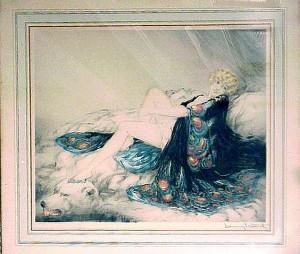 "Icart ""Silk Robe"" in original frame.  The mat is glued to the etching and the etching is glued to a board."