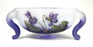Unusual shaped Daum Nancy bowl with violets