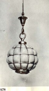An original Tiffany Studios photograph from Tiffany at Auction, showing an almost identical fixture but without a long rod