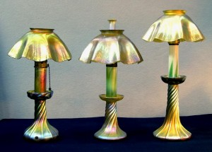Electric, Kerosene And Candle Versions Of Tiffany Studios Candle Lamps