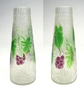 Tiffany Favrile cameo vase, front and back views