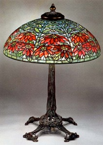 Tiffany Studios Double Poinsettia table lamp with fantastic Art Nouveau root base