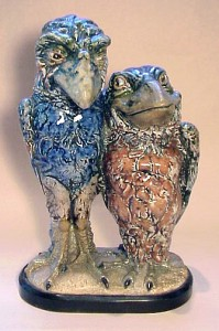 A rare and wonderful Martin Brothers double bird of two lovers.