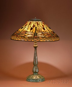 A Tiffany 20 inch diameter Dragonfly table lamp, Skinner lot #471