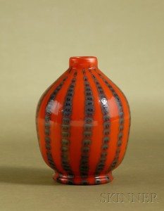 A rare Tiffany Favrile orange vase, Skinner lot #583