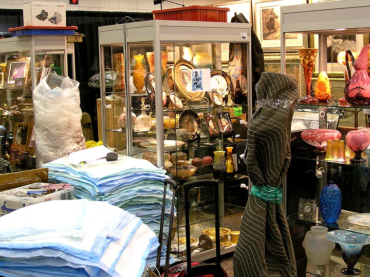 Setting up at the Denver Antiques Show