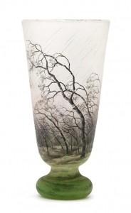 Daum rain scenic vase, Hindman lot #23