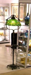 Tiffany 14 inch diameter Acorn floor lamp with drink tray, ashtray and magazine rack