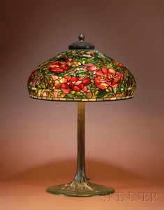 Tiffany Elaborate Peony table lamp, Skinner lot #305