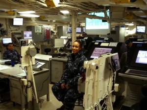 The engineering control room of the USS New York