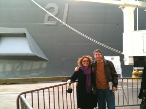 We're standing in front of the bow of the ship