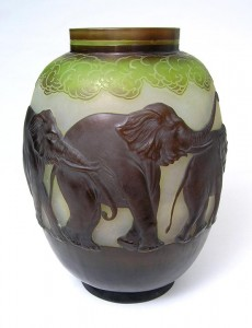 Gallé blownout elephant vase