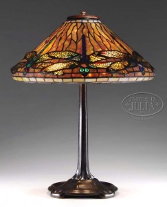 Tiffany Studios 17 in. diam. Dragonfly table lamp, Julia's lot #2079, November 20, 2009
