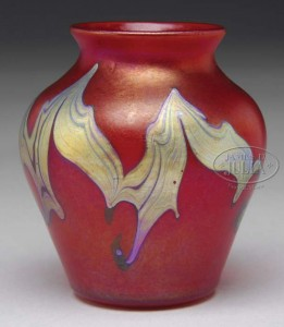 Tiffany Studios red mini vase, Julia's lot #2093