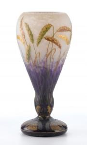 Daum Nancy wheat vase, Heritage lot #75144