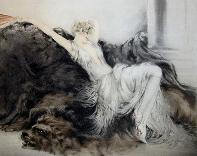 Louis Icart etching 'Laziness'