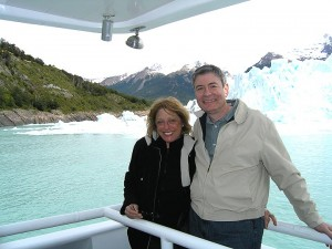 That's the Perito Moreno glacier in the background.
