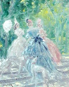 Louis Icart oil painting 'Rendezvous dans le Parc'