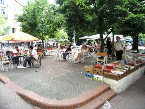 Plaza Dorrego, in the center of San Telmo, Buenos Aires