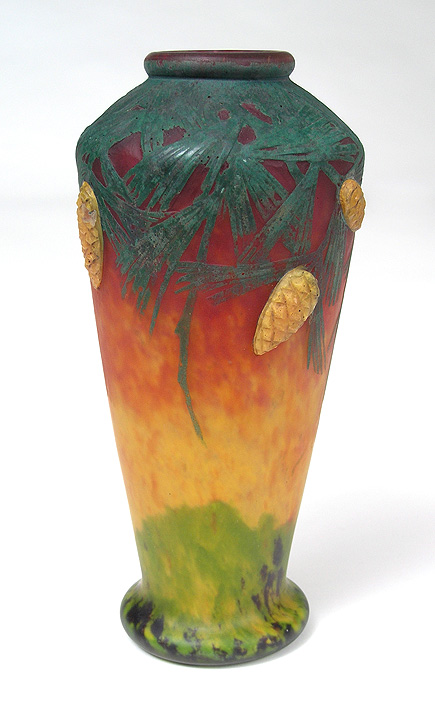 Important Daum vase with padded and wheel-carved pine cones