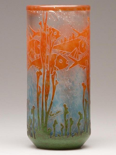 Le Verre Francais Poissons vase, lot #754, Jeffrey S. Evans & Associates, Inc.