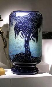 Huge Le Verre Francais Palmiers bleus vase
