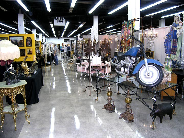Thursday setup at the Miami National Antiques Show