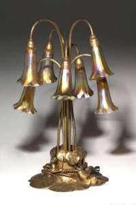 Gilded Tiffany Studios 7-light lily table lamp