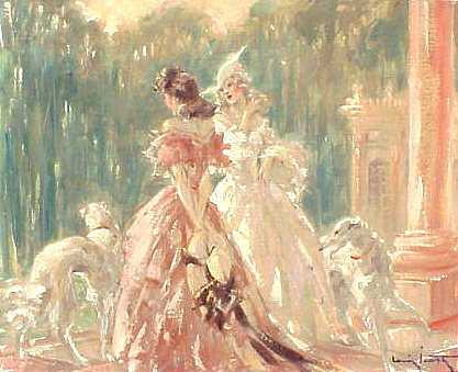 Original Louis Icart oil painting 'Aux Trianons'