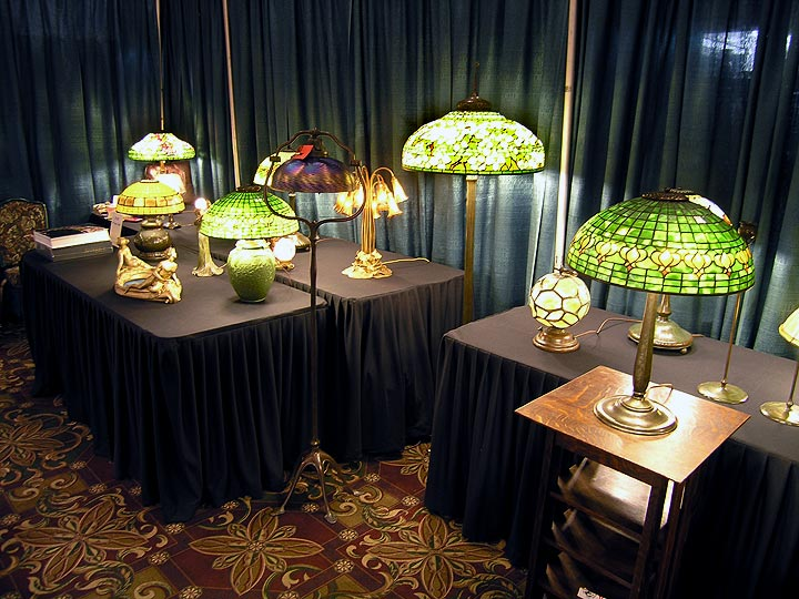 A few of the Tiffany lamp offerings in my booth at the Grove Park Inn