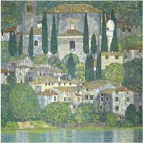 Gustav Klimt - Church in Cassone - Landscape with Cypresses, Sotheby's London lot 13, February 3, 2010