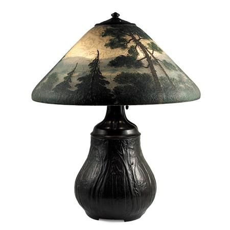 Handel Connecticut River scenic table lamp, Doyle lot #304