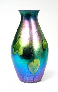 Superior quality Tiffany 12-inch blue Favrile vase with green hearts and vines