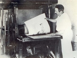 Louis Icart examining Joy of Life, hot off the press
