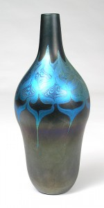 Tiffany Favrile black decorated vase