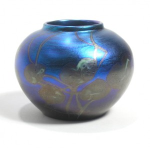Tiffany Favrile blue decorated mini vase
