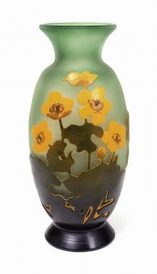 Rare Gallé anemone floral vase on green background