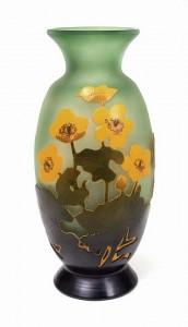 Rare Gallé anemone floral vase on green background