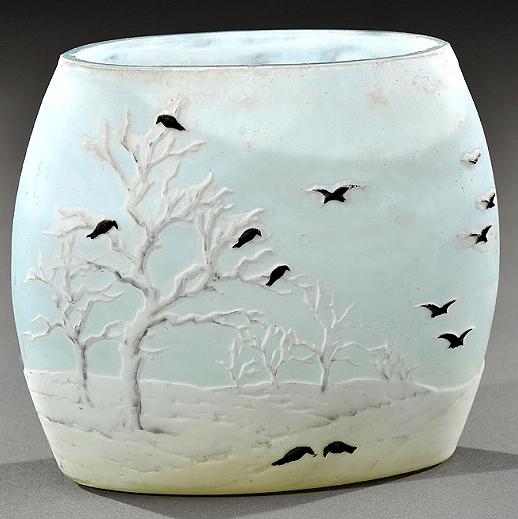 A rare and very desirable Daum Nancy Blackbird vase