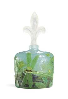 Daum Nancy bottle with applied dragonfly