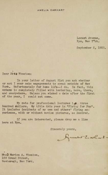Amelia Earhart letter, Sotheby's lot 310, June 17, 2010