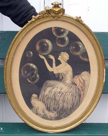 Louis Icart original etching <i>Bubbles</i>