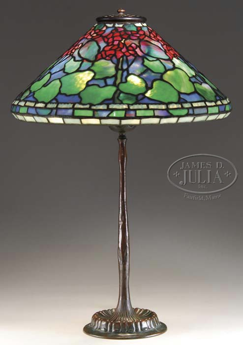 Tiffany Studios 17 inch Geranium table lamp, Julia lot #2315, June 23, 2010