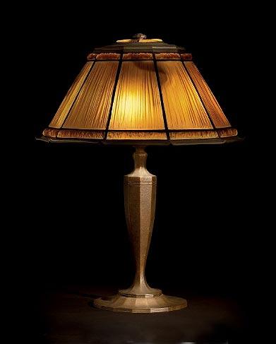 Tiffany Studios 16 inch diameter Linenfold table lamp, Christie's lot #29, June 17, 2010