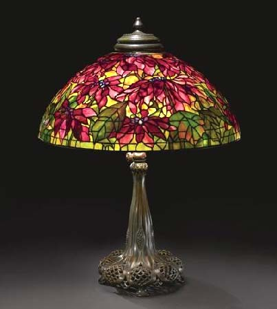 Tiffany Studios 26 inch Poinsettia table lamp, Sotheby's  New York, lot #1, June 16, 2010