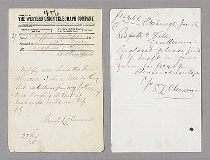 Two Samuel Clemens items, Sotheby's lot 471, June 17, 2010